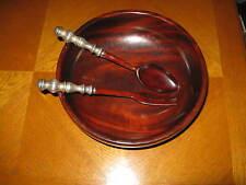 Hallmark Silversmiths Inc. Mahogany Salad Bowl & Sterling Silver Base/Handles