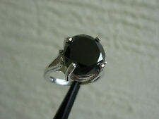5.22ct NATURAL BLACK DIAMOND RING SOLITAIRE w/ APPRAISAL by GIA GRAD, RESIZEABLE