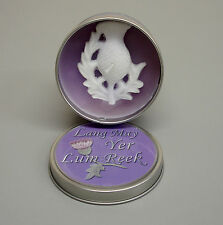 Scottish Gift Thistle Embossed Lavender Scented Flame Candle White Lily ZC80