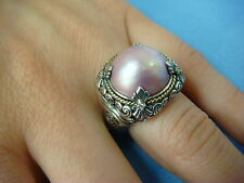 18K GOLD AND SILVER PINK MABE PEARL AND DIAMONDS, GREG ANTHONY RING, 8.3 GRAMS