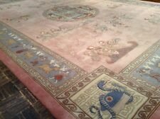 9 x 12 Pink Chinese Oriental Area Rug Hand Knotted Sculpted Dragon Wool Excel