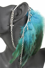Women Long Genuine Feather Blue Drop Fashion One Side Cuff Earring Silver Cross