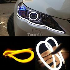 2x Switchback Car Truck DRL LED Light Strip Tube Amber Sequential Turn Signal