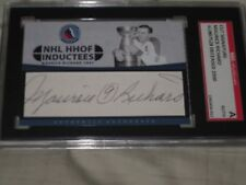 MAURICE RICHARD AUTOGRAPHED CUSTOM CUT HOF INDUCTEES CARD-SGC SLAB-ENCAPSULATED