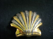 Vintage BEST Textured Pewtertone & Goldtone Metal Scallop Shell Brooch Pin