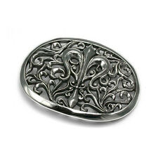 Fleur-de-lis Flory Gothic Arabesque Belt Buckle  -  Sterling Silver .925