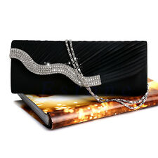DIAMANTE SATIN PLEATED CRYSTAL CLUTCH HANDBAG WEDDING BRIDAL EVENING PARTY PURSE