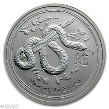 ONE 2013 $2 TWO DOLLARS LUNAR YEAR SNAKE 2 Oz  SILVER COIN AUSTRALIA Low Mintage