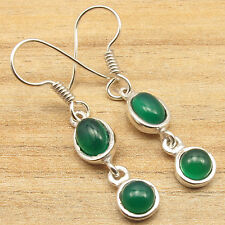 Little Earrings 1.5 Inches ! 925 Silver Plated Real GREEN ONYX GIRLS' Jewelry