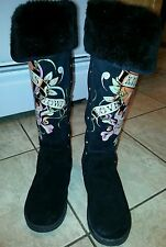 Women's Ed Hardy Black Suede Leather Boots - size 6M