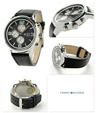 NIB TOMMY HILFIGER 1710335 Black Dial Black Leather Strap Men's Watch MSRP $165