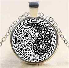 Celtic Ying and Yang Cabochon Glass Tibet Silver Chain Pendant Necklace