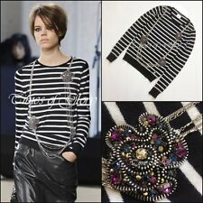 CHANEL CASHMERE Diamante Necklace Chain Black White Stripe Jumper Sweater S FR38