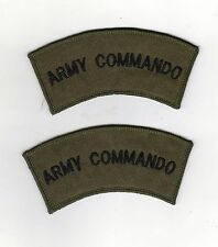 ARMY COMMANDO SHOULDER TITLES X 1 PAIR - NEW - BLACK ON OLIVE/SUBDUED ISSUE