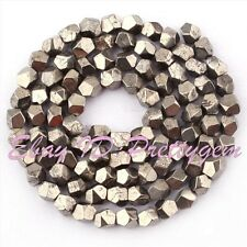5-6mm Natural Freeform Faceted Pyrite Gemstone For DIY Jewelry Making Beads 15""