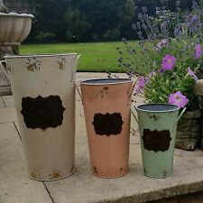 Set Of Three Vintage Rose Buckets Distressed Tin Shabby Rustic Style Garden