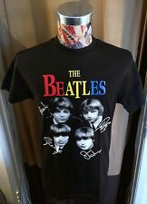 BRAND NEW THE BEATLES BLACK T SHIRT W / FACES NAMES & RAINBOW LETTERING  ~ XL