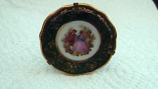 MINIATURE LIMOGES MEISSNER WALL PLATE WITH HOLDER  GREEN BAND, COUPLE SCENE