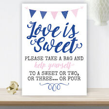 Pink & Blue Bunting Love Is Sweet Candy Buffet Table Cart Sign Wedding (PBB4)