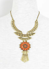 LUCKY BRAND Coral Red Flower Gold-Tone Openwork Bib Frontal Necklace $65