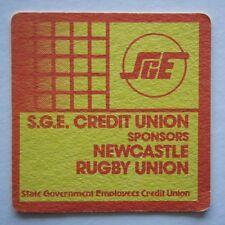 S.G.E. SGE STATE GOVERNMENT CREDIT UNION SPONSORS NEWCASTLE RUGBY UNION COASTER