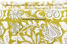 5 Yard Indian Green Floral Hand Block Print Cotton`Fabric Dressmaking -Sewing