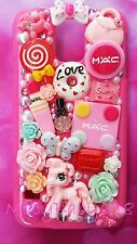 iPhone 6 plus pink MAC decoden Rainbow pony bling handmade fitted back case