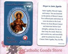 Saint St. Agatha with Prayer  - Relic Paperstock Holy Card