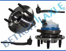 NEW 4pc Front Wheel Hub and Bearing ABS + Outer Tie Rod Set for Cadillac SRX 4WD