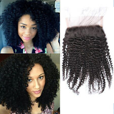 """2017 Virgin Human Hair Afro kinky curly 4*4"""" top lace closure for black women"""