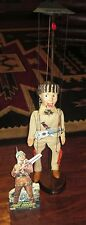 "50's ""Davy Crockett"" Marionette W-Custom Wooden Stand, Standee, Guitar, & Knife"