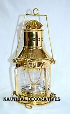 Vintage Brass Cargo Ship Railroad Glass Oil Kerosene Burner Lantern Lamp
