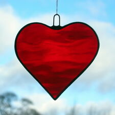 Stained Glass Hanging Ornament suncatcher (Love Heart) Cherry Red water glass