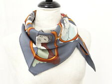 SALE! Auth HERMES Triangle Scarf Silk Gray Multi-Color France 32130889300 L16G