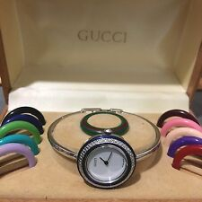 'RARE' *GUCCI* 11/12 'SILVER' TONE 'PETITE' BANGLE WHT DIAL & 13 BEZELS WATCH!!