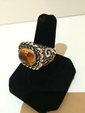 Diane Malouf Amber And Carved Sterling Silver Ring Size 7