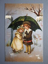 R&L Postcard: Birn Bros BB, Series 16, Edwardian, Winter Scene, Umbrella