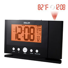 BALDR Atomic LCD Alarm Clock Projecting Wall Ceiling with Orange Backlight Displ