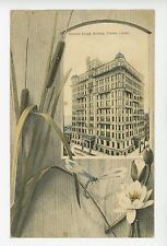 Beautiful Antique Toronto FORESTERS TEMPLE BUILDING Dragonfly & Catstail 1908