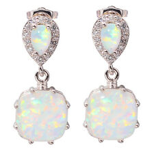 "White Fire Opal Zircon Women Jewelry Gemstone Silver Stud Earrings 1"" OH3513"