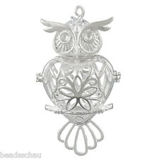 1PC Owl Hollow Mexican Bola Magic Box Pendant Matel Silver Tone5.5x2.9cm GIFTS