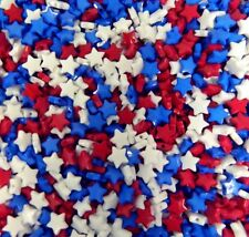 1000 Mixed Acrylic Star Spacer Beads 9mm Round Red White and Blue
