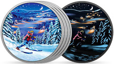 2017 Glow-in-Dark Night Skiing $15 3/4OZ PureSilver Coin Great Canadian Outdoors