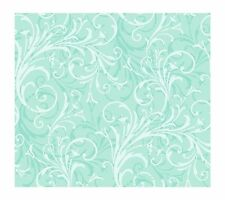 Girls White Scroll on Sea Green Contemporary Wallpaper KD1723