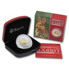 Perth Mint Australia $1 Lunar Series II Gilded Rabbit 2011 1 oz .999 Silver Coin