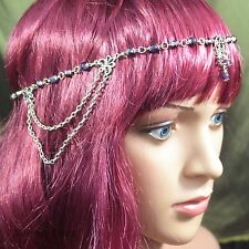 Pentacle Headdress with Amethyst and Purple Crystal - Pagan, Wicca, Witch