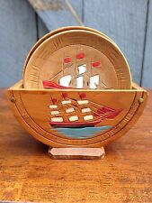 Vintage Hand Painted Wooden Ship + Farmer & Plant Coasters Holder Occupied Japan