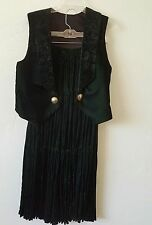 Coldwater Creek EUC Green Velvet Navajo Style Broomstick Skirt and Vest Size M