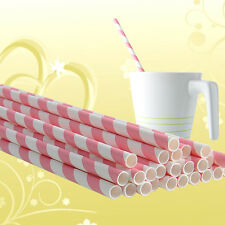100Pcs Colorful Striped Paper Straws for Birthday Décor Decoration Pink