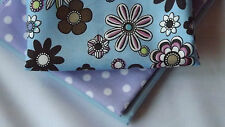 By the Half Metre - Blue Flower Power 70s Retro Style 100% Cotton Fabric